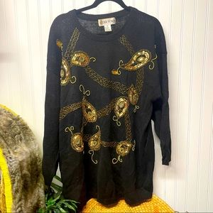Vintage Victoria WomanSweater 3X Black Embellished